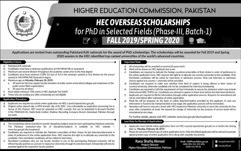 HEC Overseas Scholarships 2019 Advertisement Application Form, Last Date