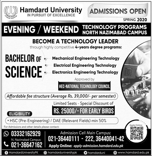 Hamdard University Spring Admission 2020