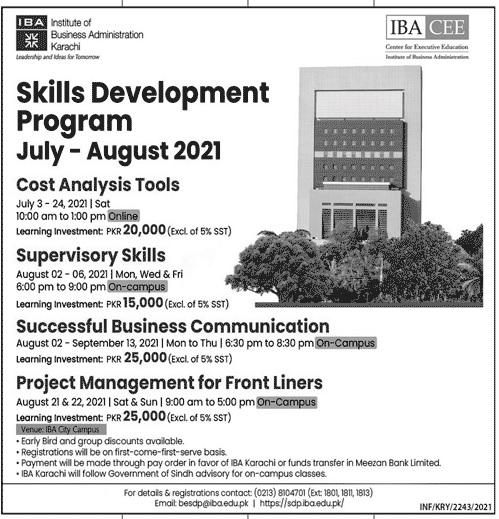 IBA Karachi Skill Development Program 2021 Registration Form