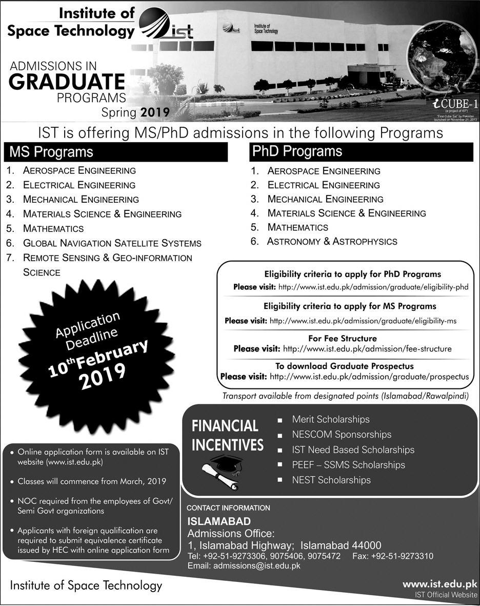 Institute of Space Technology Islamabad Graduate Admission 2019 PhD, MS