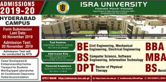 Isra University Hyderabad Admission 2019-20 Form