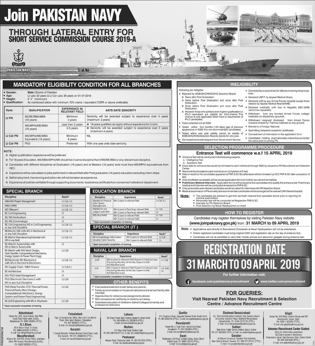 Join Pakistan Navy Through Short Service Commission 2019 A Online Registration Form