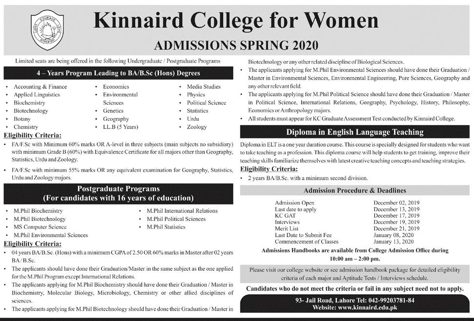kinnaird college spring admissions 2020