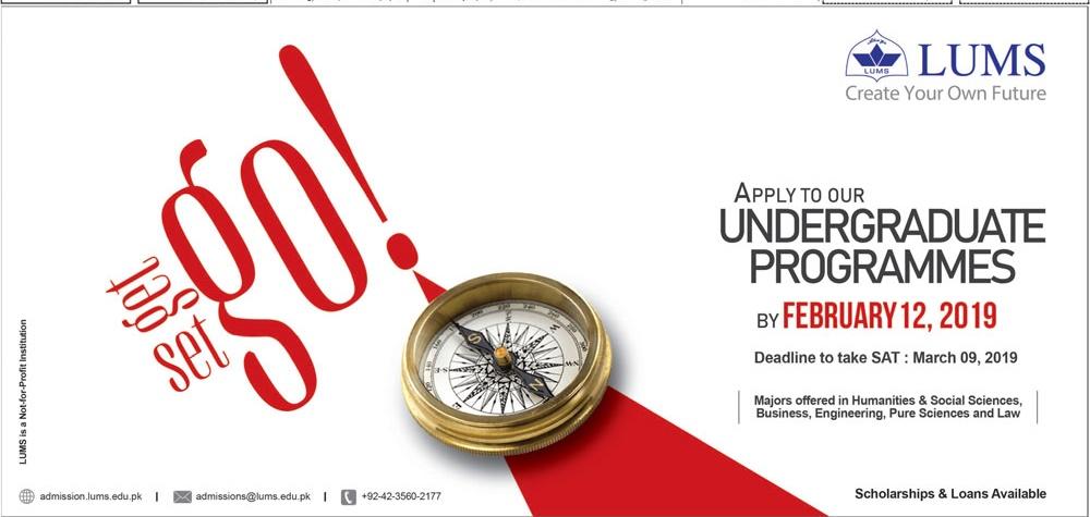 LUMS Lahore Undergraduate Programs Admission 2019