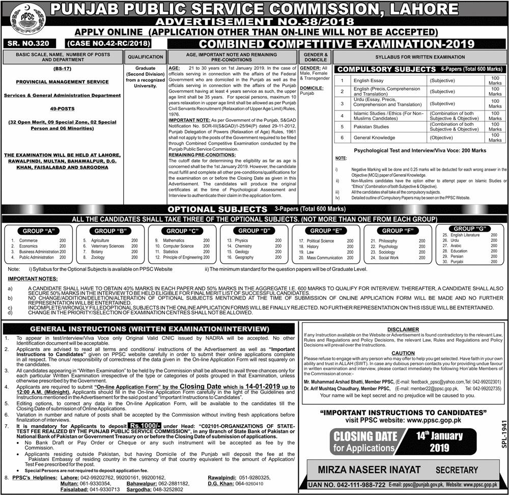 PMS Jobs In Punjab 2019 PPSC Provincial Management Services
