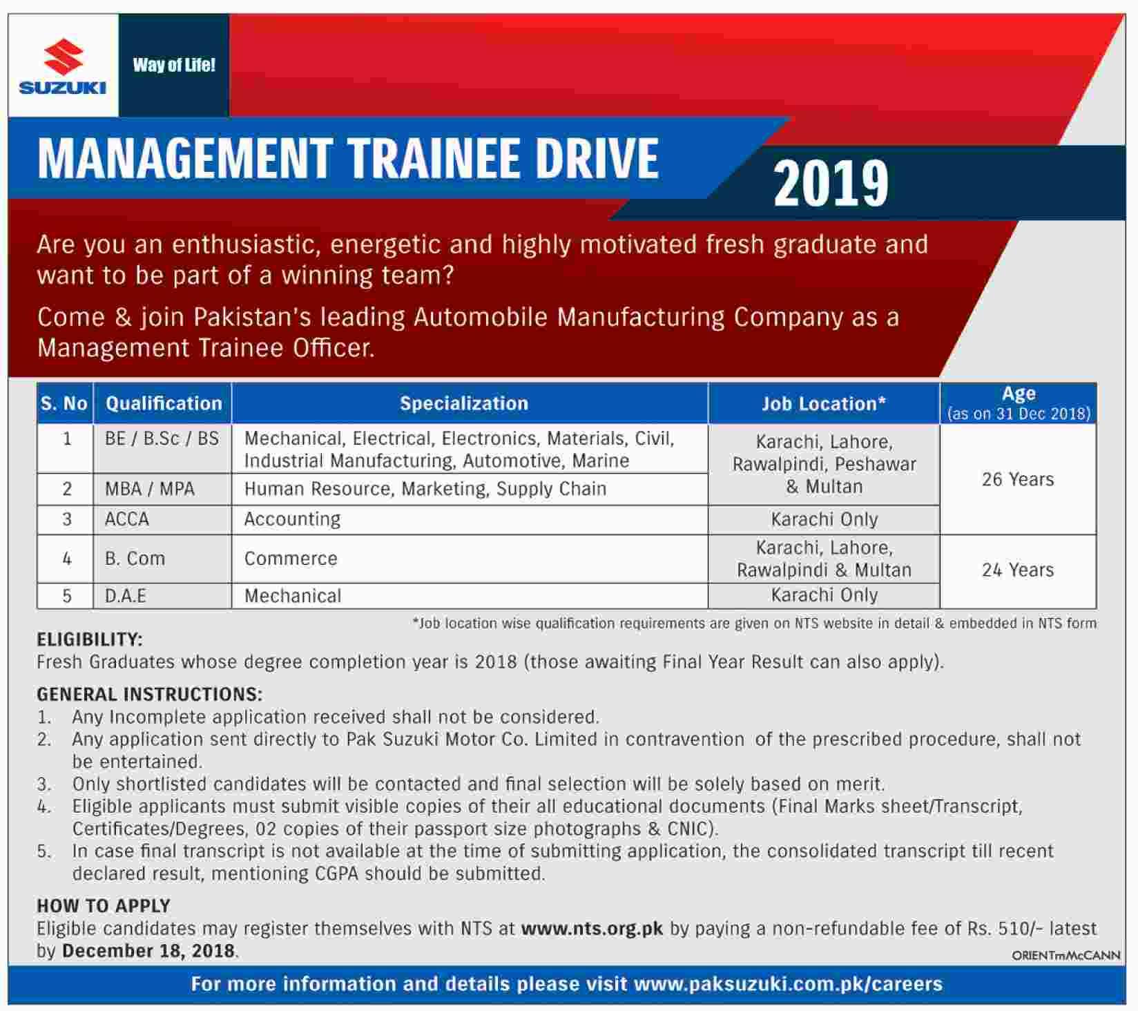 Pak Suzuki Management Trainee Program 2019