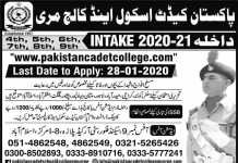 Pakistan Cadet School And College Murree Admission 2020