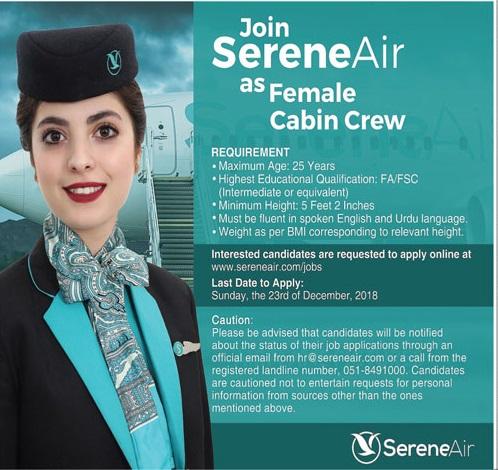 Serene Air Female Cabin Crew Jobs 2018 Apply Online