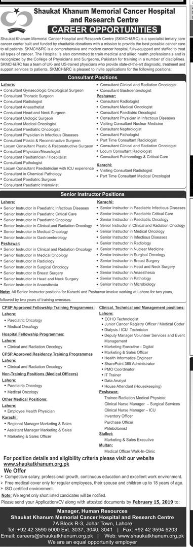 Shaukat khanum Hospital Lahore Jobs 2019