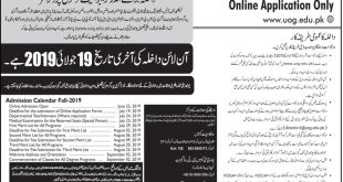 University of Gujrat UOG Admission 2019 Admission Form, Last Date