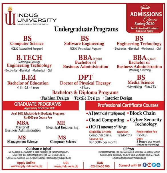 Indus University Karachi Admission Spring 2020 Form, Criteria