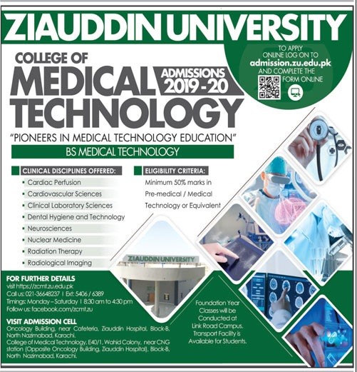 Ziauddin University Karachi Admissions 2019 BS Medical Technology