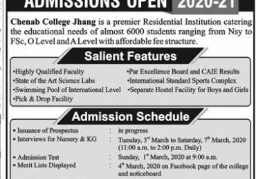 Chenab College Jhang Admission 2020 Form