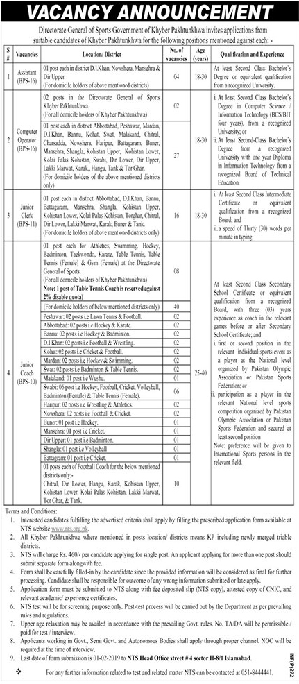 Directorate General of Sports KPK Jobs 2019 NTS Application Form Advertisement