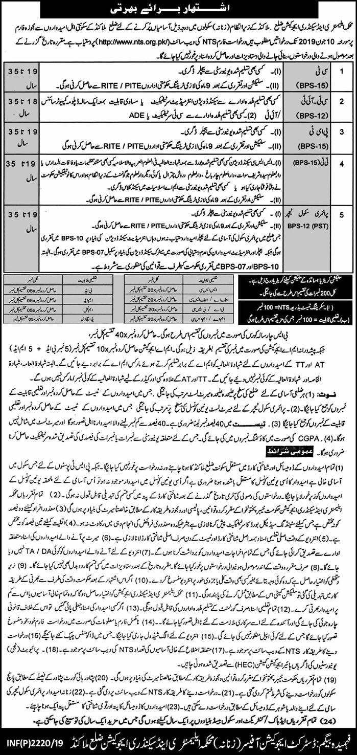 Elementary And Secondary Education KPK Jobs 2019 NTS Application Form