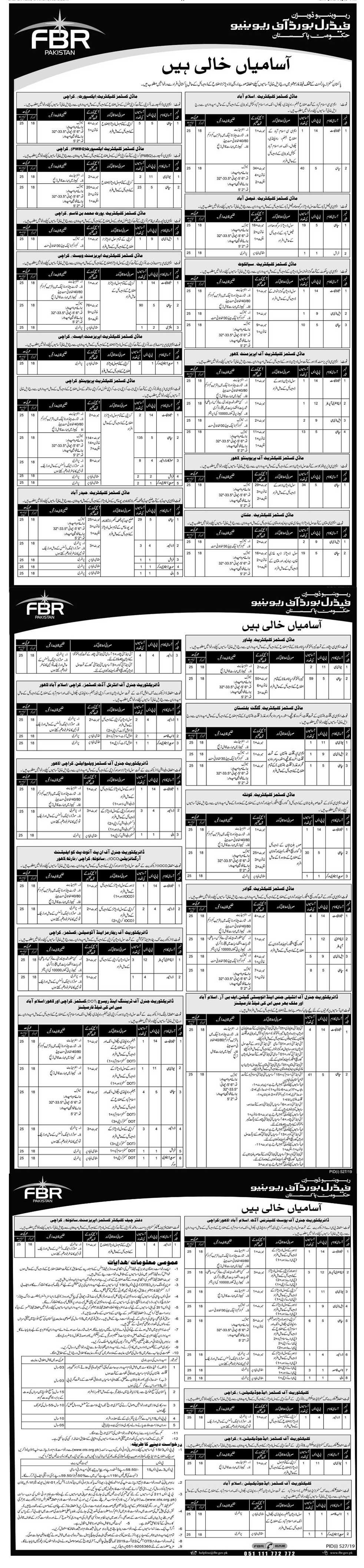 FBR Jobs In Pakistan 2019 Federal Board Of Revenue Application Form