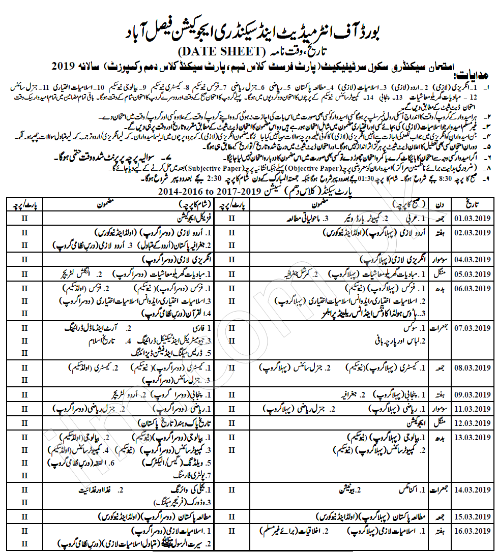 Faisalabad Board 10th Class Date Sheet 2019