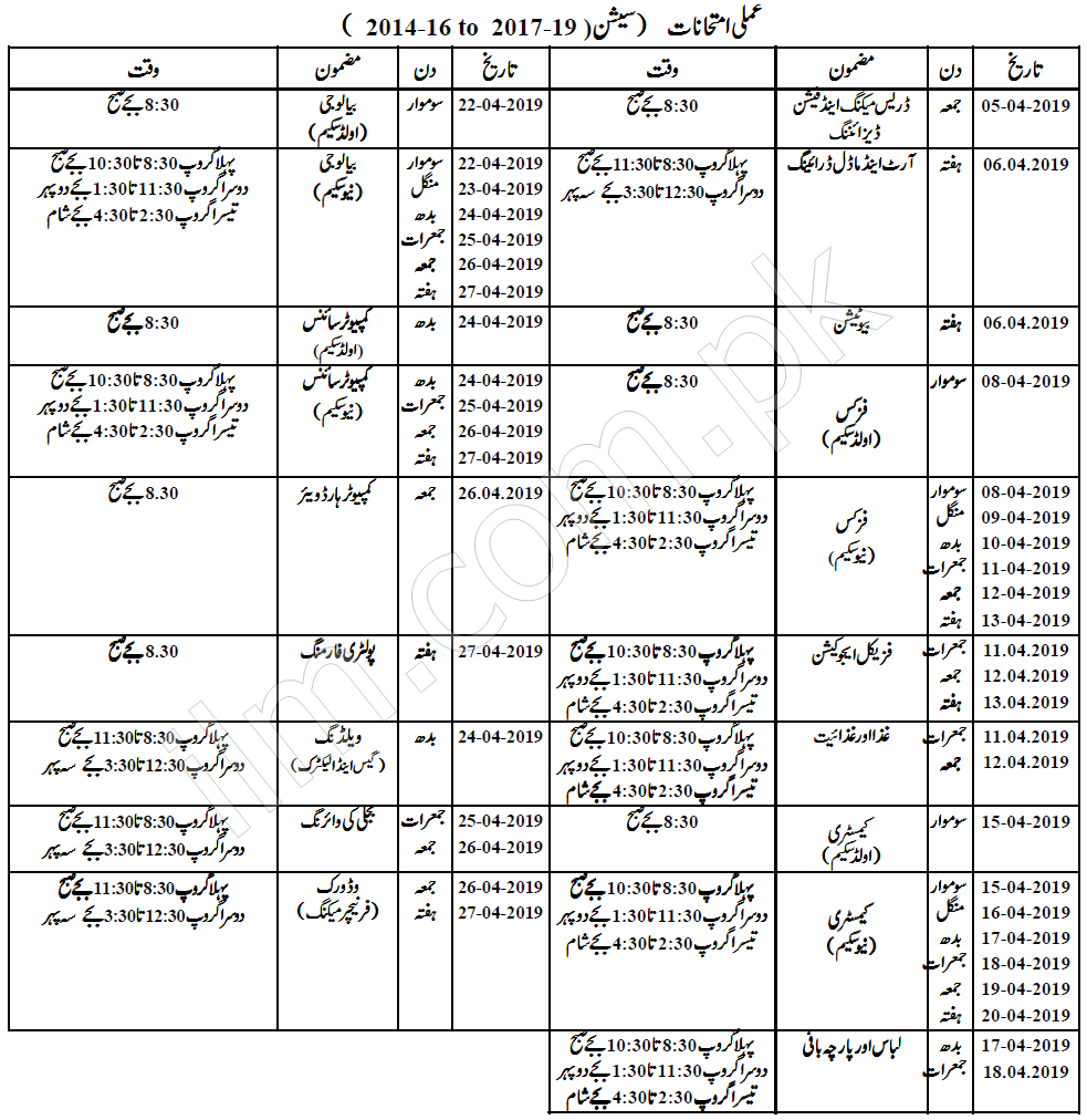 BISE Faisalabad Board Matric 10th Class Date Sheet 2019