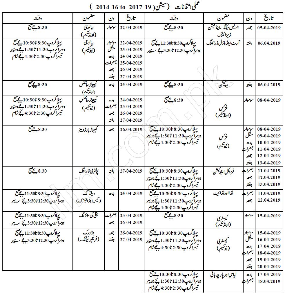 Faisalabad Board Practical Date Sheet 2019