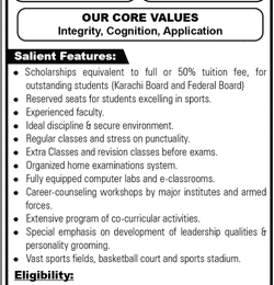 Fazaia Degree College Faisal Karachi Admission 2019 Entry