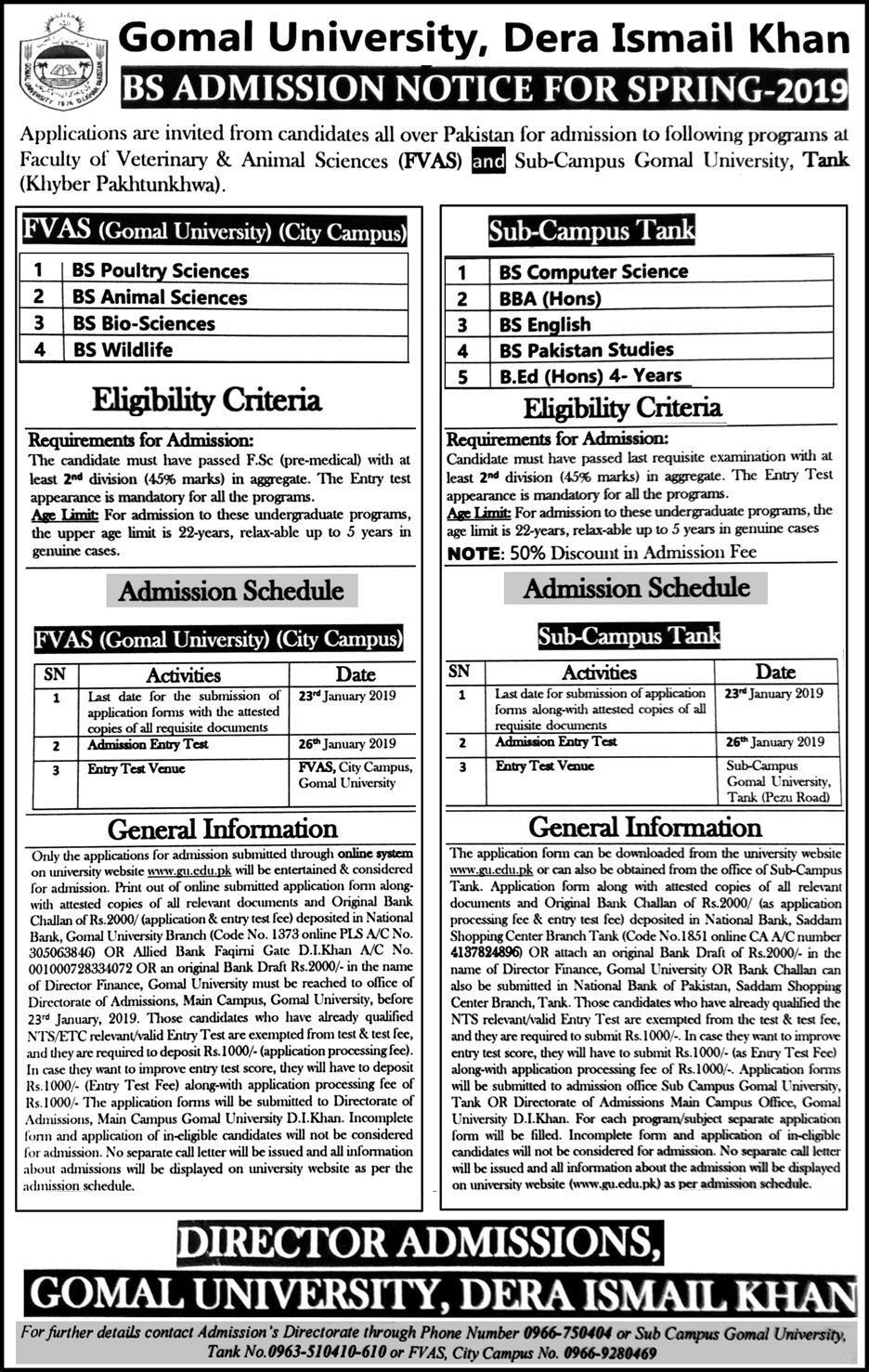 Gomal University Di Khan Admission 2019 Form Last Date