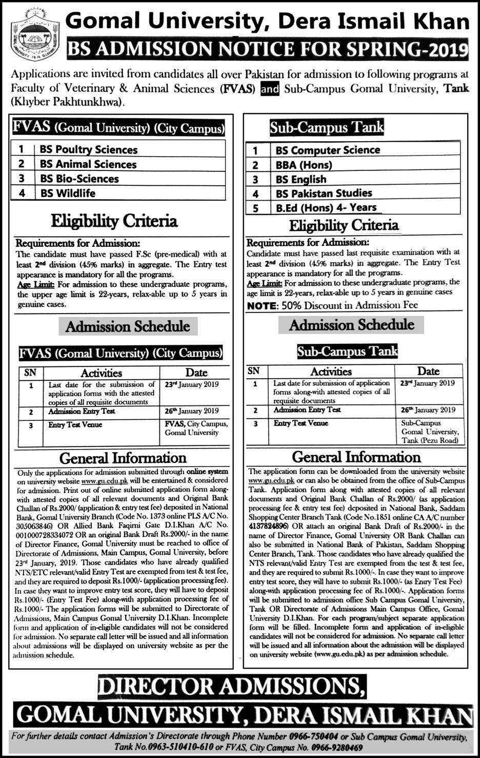 Gomal University DI Khan Admission 2019