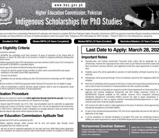 HEC Indigenous Scholarship 2020 MS/M.Phil/PhD Application Form Last Date
