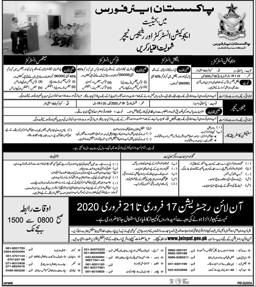 PAF Education Instructor Jobs 2020 And Religious Teacher