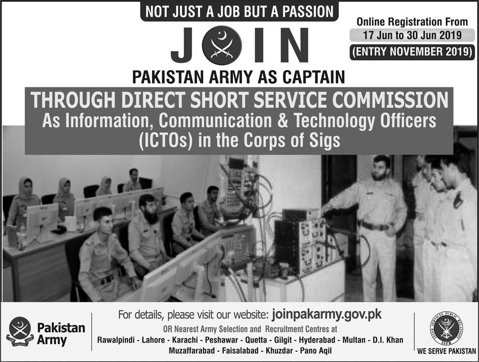 Join Pak Army As Captain Through Direct Short Service Commission 2019