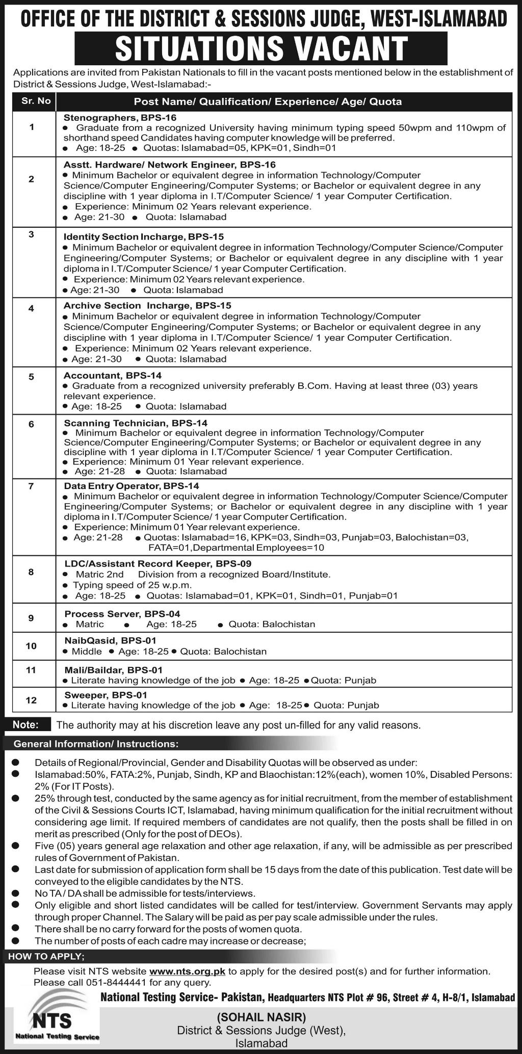 Office of District and Sessions Judge West Islamabad Jobs 2019