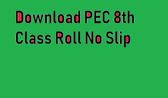 PEC 8th Class Roll No Slip 2020 Online Download
