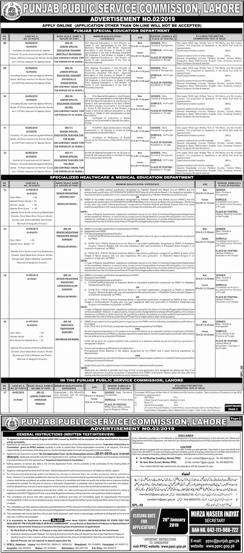 PPSC Senior, Junior Special Education Teacher Jobs 2019 Online Apply