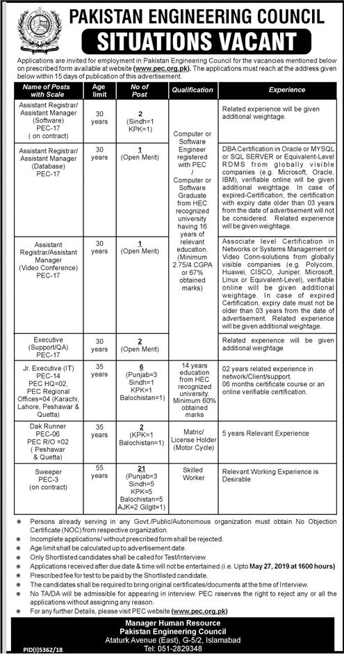Pakistan Engineering Council PEC Jobs 2019 Application Form
