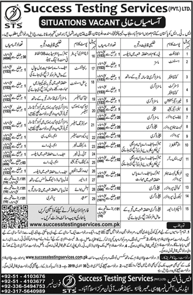 STS Jobs 2019 Advertisement Success Testing Services Application Form