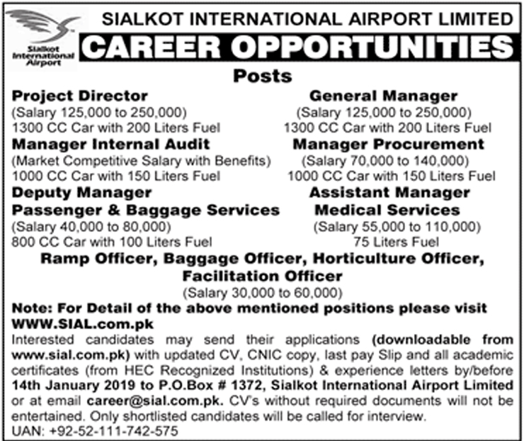 Sialkot International Airport Jobs 2019 Advertisement