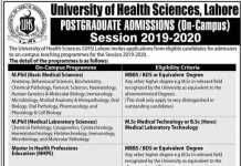 University of Health Sciences UHS Lahore Postgraduate Admissions 2020 Form