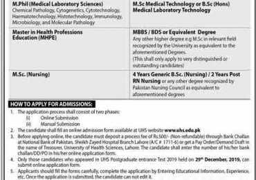 University of Health Sciences UHS Lahore Postgraduate Admissions 2020 Form