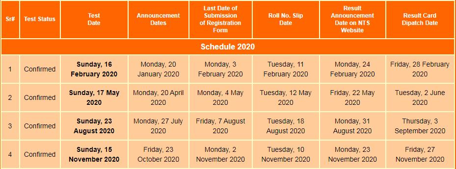NTS GAT Test Schedule 2020 GAT General, Subject Test Dates
