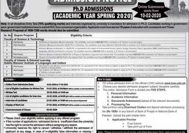 LCWU PhD Admission 2020 Entry Test Result, Merit List