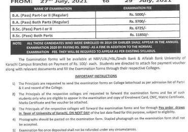 Karachi University BA, BSC Examination Form 2021 Submission Schedule