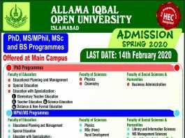 Allama Iqbal Open University Islamabad Admissions Spring 2020