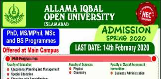 AIOU Spring Admission 2020 Form Last Date, Advertisement