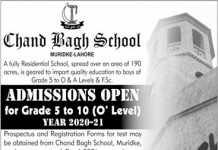 Chand Bagh School Muridke Admission 2020 Form