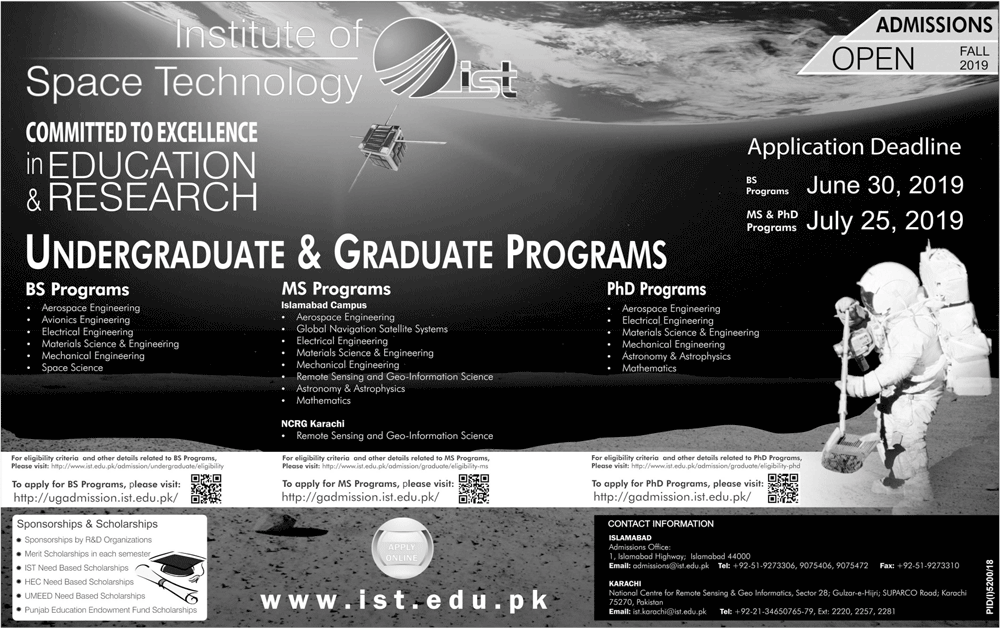 Institute Of Space Technology IST Undergraduate Admissions Fall 2019 Form