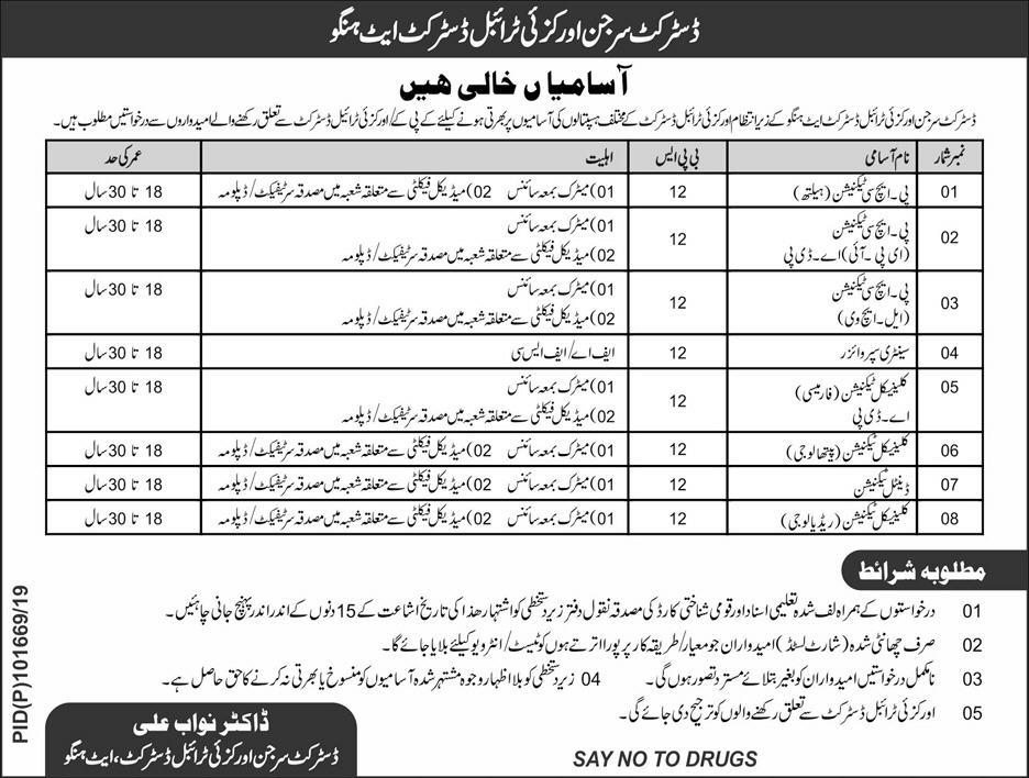 KPK Health Department Jobs 2019 Application Form
