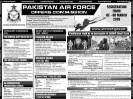 Pakistan Air Force Commission Jobs 2020 Online Registration Advertisement