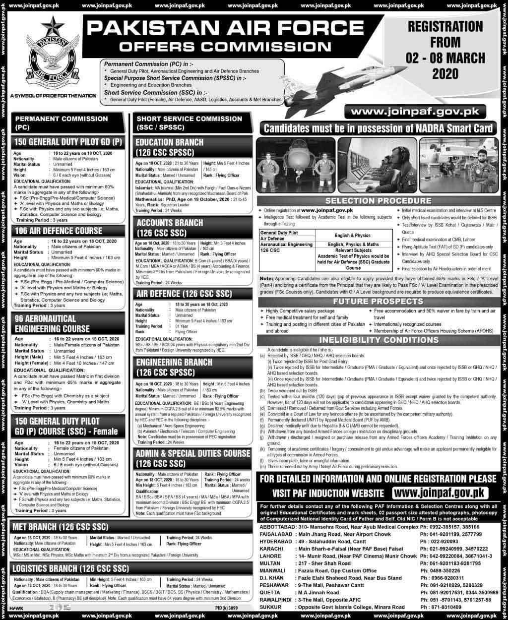 Pakistan Air Force Commission Jobs 2020 Online Registration Advertisement