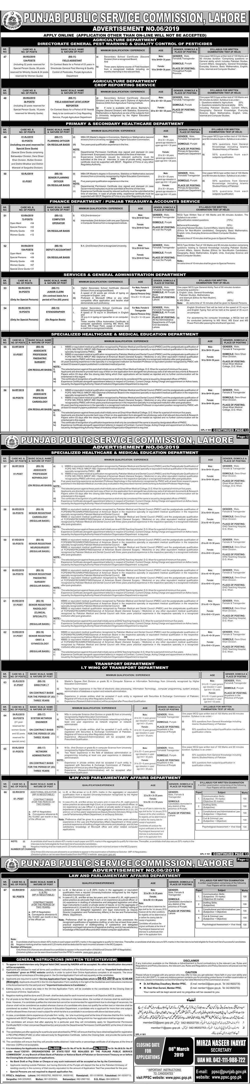 Punjab Public Service Commission PPSC Jobs February 2019 Advertisement