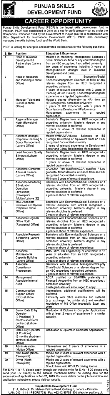 Head of Business Development and partnership (Lahore Office) Head of Research and Planning (Lahore Office) Manager Talent and Culture (Lahore Office) Regional Manager North (Rawalpindi Office) Assistant Manager, Corporate Planning and Donor Management (Lahore Office) Lead Program Quality and Impact (Lahore Office) Associate Corporate Affairs and Finance (Lahore Office) Associate Monitoring and Evaluation Opration M&E Associate Initiative and Special projects (Lahore Office) Associate Regional Office North (Rawalpindi Office) Associate Research and Planning (Lahore Office) Associate Mobilisation and Capacity Building (Lahore Office) Associate Consultancy Procurement Management Associate Internal Audit Communication Support Officer (CSO) (Lahore Office) Senior Data Entry Operator Data Entry Operator Admin Assistant Naib Qasid Driver