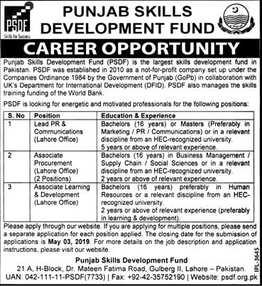 Punjab Skill Development Fund PSDF Jobs 2019 Application Form